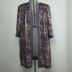 Vintage Purple Floral Duster Jacket